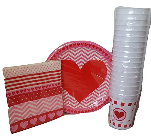 Valentines Hearts Party Pack - Plates, Cups, Napkins - Serves 18