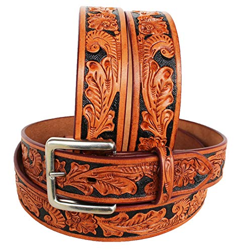 CHALLENGER 45-46 Men's Western Rodeo Fashion Floral Tooled Black Inlay Leather Belt 2644RS ()
