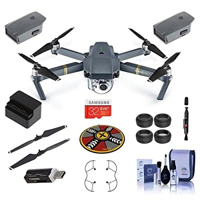 "DJI Mavic Pro with Remote Controller "" Basic Kit "" Includes DJI Intelligent Flight Battery, 32GB MicroSDHC Card, 2x Folding Propellers, Propeller Guard, Filter Kit, Collapsible Pad And More"