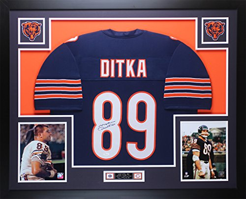 Signed Hand Bears (Mike Ditka Autographed Blue Chicago Bears Jersey - Beautifully Matted and Framed - Hand Signed By Mike Ditka and Certified Authentic by Auto PSA COA - Includes Certificate of Authenticity)
