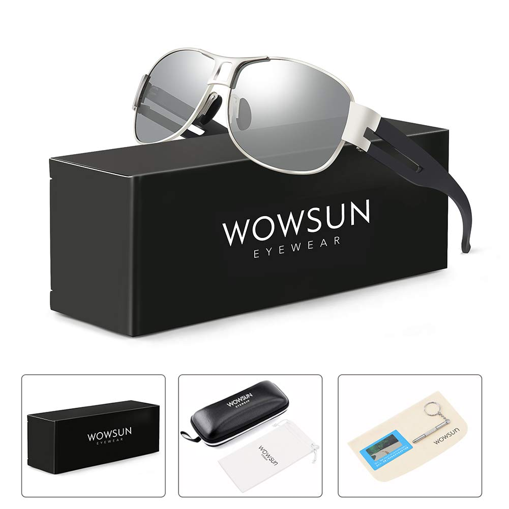 WOWSUN Classic Aviator Military Polarized Driving Sunglasses For Men | Ultralight Frame with 100% UV400 Protection Lens (Black Lens Silver Frame)