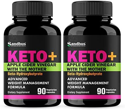 Potent Apple Cider Vinegar with BHB Salts Boosts Ketosis ACV Detox Support Fat Burner & Weight Loss Supplement Keto Pills for Women Men 2 Pack 90 Vegetarian Capsules (180 Count) 1