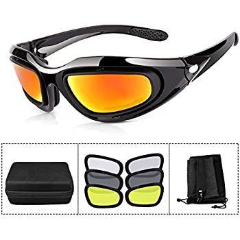 579b162993 ActionEliters Tactical Eyewear Eyeshield Polarized UV400 Protective  Shooting Safety Glasses Kit w  3 Lenses for Shooting Driving Fishing  Running and More