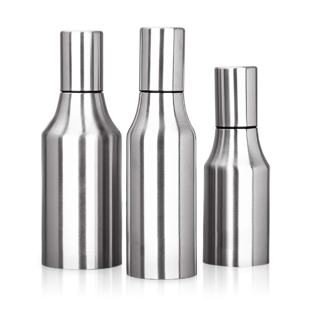 HQGOODS Oil Dispenser,Stainless Steel Olive Oil/Vinegar/Sauce Cruet Oil Bottle Edible Oil Container Pot - Non drip Pouring Spout(33 oz/1000ML) by HQGOODS (Image #2)