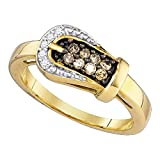 Jewels By Lux 10kt Yellow Gold Womens Round Cognac-Brown Color Enhanced Diamond Belt Buckle Ring 1/4 Cttw Ring Size 8