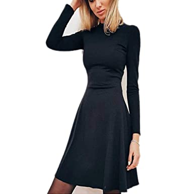 e2f039a75cd Molif Women Long Sleeve Bodycon Party Dresses Autumn Winter Slimming  Elegant Temperament Mini Dress Black S