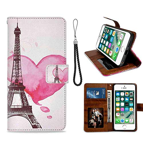 mophinda iPhone 8 Plus (2017)/iPhone 7 Plus (2016) [5.5-Inch] Wallet Case Eiffel Tower,Eiffel Romantic Valentine Love Watercolor Theme Heart Leaf Silhouette Print,Fuchsia Brown Protective