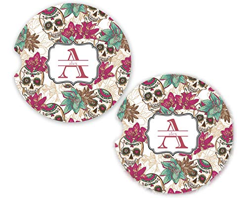 (Sugar Skulls & Flowers Sandstone Car Coasters - Set of 2 (Personalized))