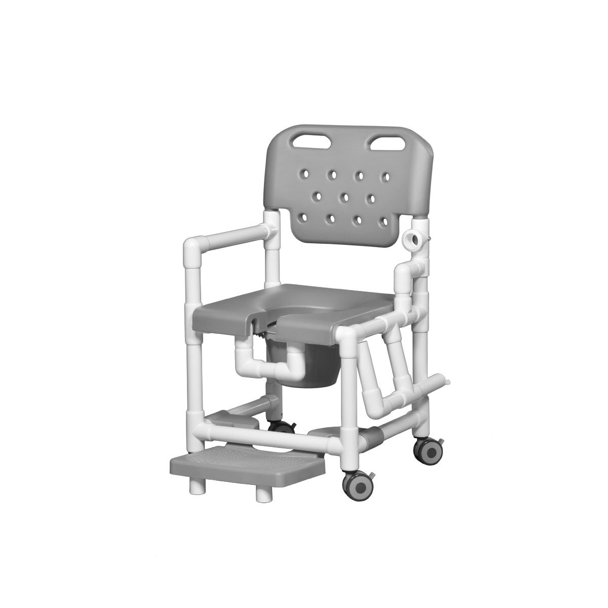 Elite Shower Chair Commode with Footrest & Left Arm Drop Gray