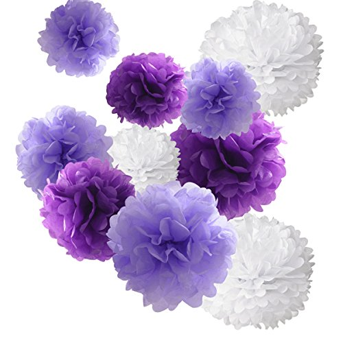 18pcs Tissue Hanging Paper Pom-poms, Hmxpls Flower Ball Wedding Party Outdoor Decoration Premium Tissue Paper Pom Pom Flowers Craft Kit (Purple & White)