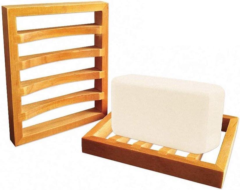 Juego de 2 Natural estilo baño caso jabón soporte de madera ...