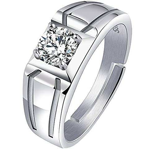 Men's 925 Sterling Silver Plated Open Ring Cubic Zirconia CZ Engagement Wedding Band for - Sterling Silver Engagement Plated Ring