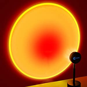 Sunset Lamp Projection Sunset Light Projector, LED Rainbow Night Lights Romantic Visual Red Sun Light, UFO Shape 180° Rotation, USB Charging for Photo Video Vlog Bedroom Studio Room Decor, Sunset Red