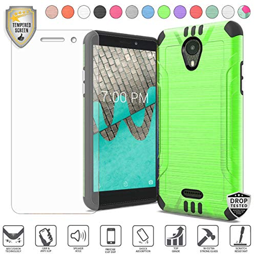 Compatible for Wiko Ride Model Phone Case with [Tempered Glass Screen Protector], Premium Metallic Brushed Design Dual Layer Hybrid [Shock Proof] [Drop Tested] Cover Case (Neon Green) (Boost Mobile Cases)