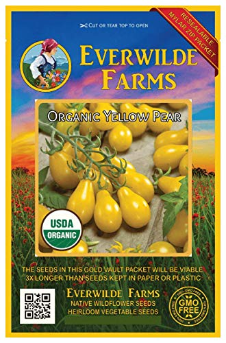 Everwilde Farms - 50 organic Yellow Pear Production Tomato Seeds - Gold Vault Packet (Pear Plants Tomato)