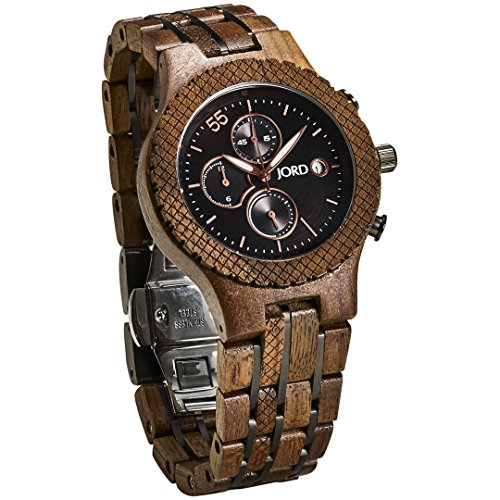 JORD Wooden Wrist Watches for Men - Conway Series Chronograph/Wood and Metal Watch Band/Wood Bezel/Analog Quartz Movement - Includes Wood Watch Box (Walnut & Jet Black)