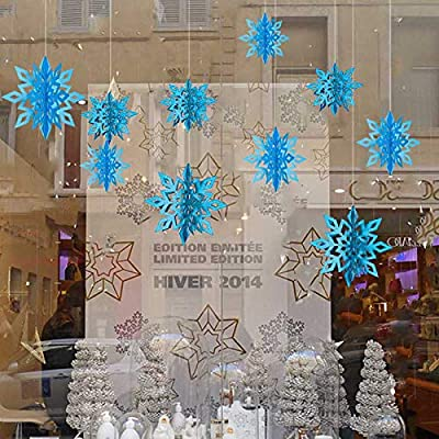 Christmas Party Decorations,12Pcs Holiday 3D Glittery Large Snowflake Hanging Garland Flags-Christmas Winter Holiday New Year Party Home Decoration (Turquiose Blue): Health & Personal Care