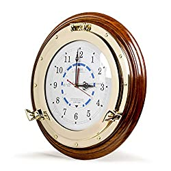 Nagina International Nautical Time Tide Clock with Brass Porthole & Wooden Base - Captain Maritime Beach Home Decor Gift (16 Inches)