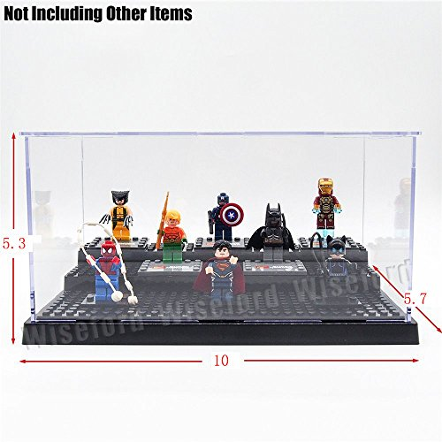iPartshop Acrylic Display Case/Box (10 x 5.7 x 5.3 Inches) Perspex Dustproof ShowCase Base For LEGO Minifigures Brick Building Block (Black)
