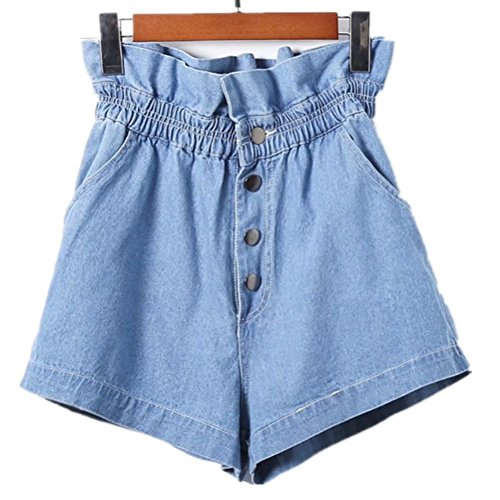 FuweiEncore Shorts Sexy Mini Volants Haute Femme Bleu Shorts Jeans Rtro Chic Taille wwq6g1ZB7r