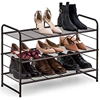 Bextsware Shoe Rack,Stackable and Adjustable Multi-Function Wire Grid Shoe Organizer Storage,Extra Large Capacity, Space Saving, Fits Boots, high Heels, Slippers and More(Bronze)