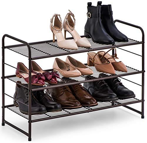 Bextsware 3-Tier Shoe Rack,Stackable and Adjustable Multi-Function Wire Grid Shoe Organizer Storage,Extra Large Capacity, Space Saving, Fits Boots, High Heels, Slippers and More(Bronze) (Closet Shoes For Rack)