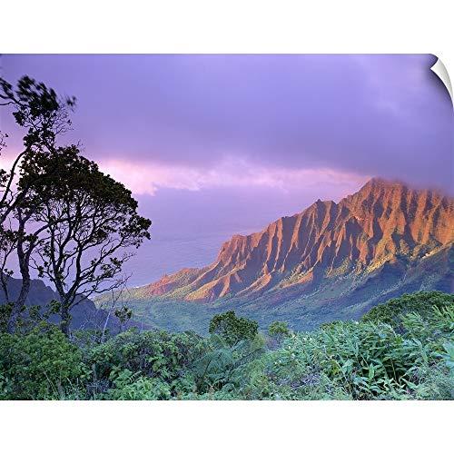 Art Print Greg Stocks - CANVAS ON DEMAND Hawaii, Kauai, Na Pali Coast, Kalalau Valley, Kaaalahina Ridge Wall Peel Art Print, 40