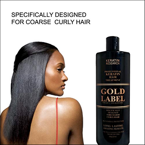 Gold Label Professional Brazilian Keratin Blowout Hair Treatment Super Enhanced Formula Specifically Designed for Coarse, Curly, Black, African, Dominican, and Brazilian Hair Types 240ml (Best Permanent Hair Straightening Treatment)