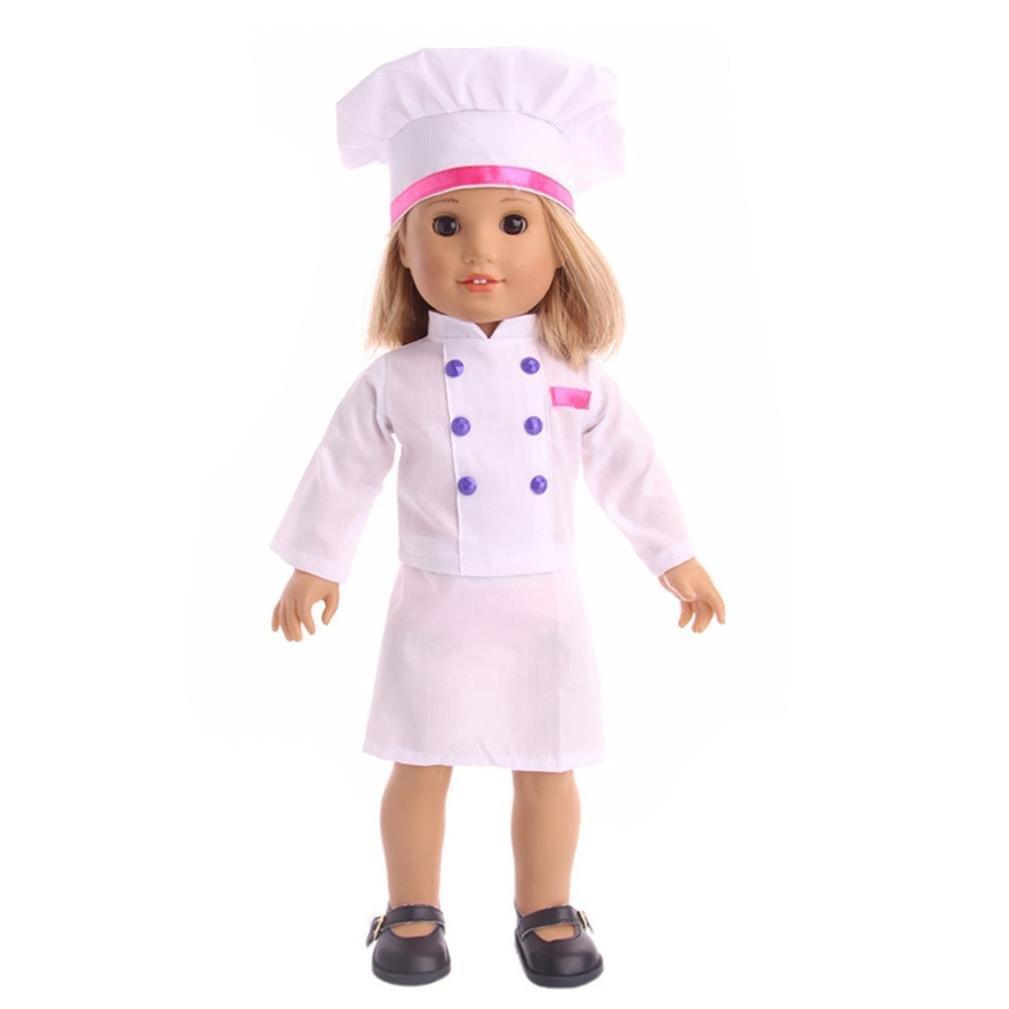Rucan Baker Chef Uniformes Traje para muñecas de niña de 18 pulgadas ...