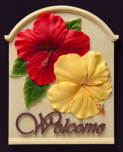 Red & Yellow Hibiscus Welcome Plaque By Ibs & Orchid Design