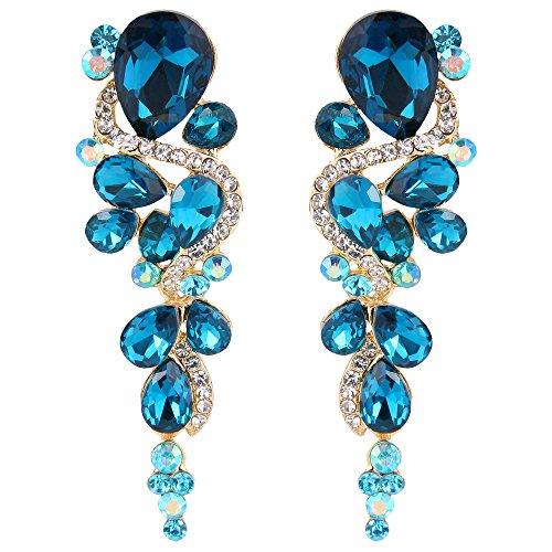 Crystal 3 Drop Chandelier Earrings - BriLove Wedding Bridal Dangle Earrings for Women Bohemian Boho Crystal Multiple Teardrop Chandelier Long Earrings Gold-Toned Blue Topaz Color