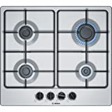 Bosch Serie 4 PGP6B5B80 Built-in Gas Black,Stainless steel hob - hobs (Built-in, Gas, Stainless steel, Black, Stainless steel, 1000 W, 1750 W)