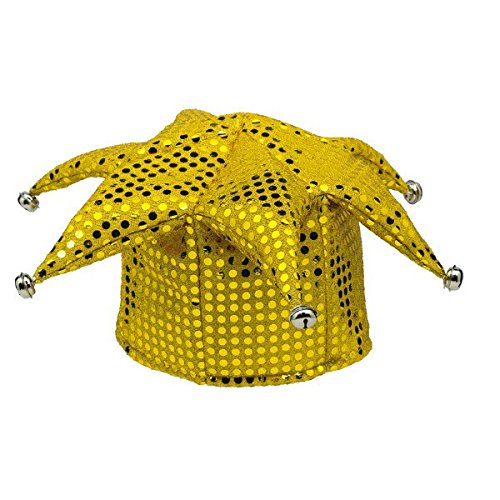 Amscan Mystical Masquerade Party Sequined Jester Hat, Yellow