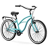 sixthreezero Around The Block Women's 3-Speed Beach Cruiser Bicycle, 24' Wheels/ 14' Frame, Teal, 14'/One Size