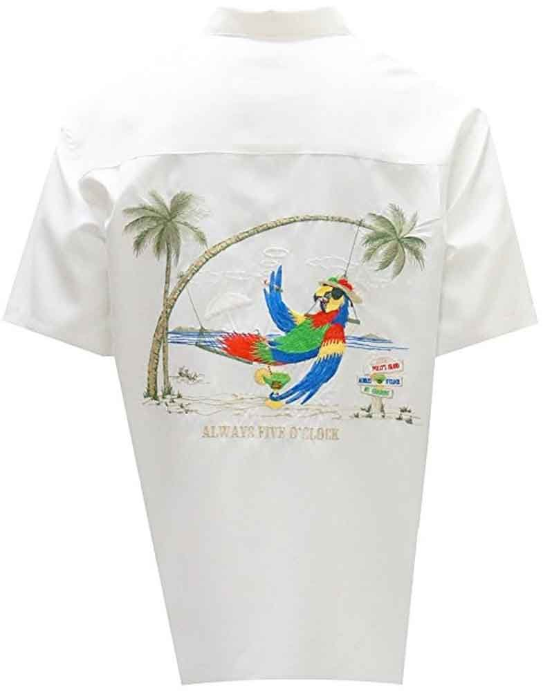 Bamboo Cay - Always Five O'clock, Tropical Style Button Front Camp Shirt (2XL, Off White) by Bamboo Cay