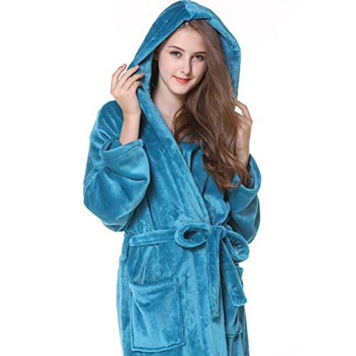 Women Men Plus Peacock Comfy Size Albornoz Pijama Warmth Nightgown Unisex Hooded Winter Blue Thick Zhuhaitf Flannel Fashion qwCftOyE