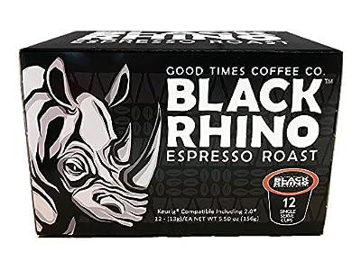 Black Rhino Espresso Roast Coffee, Single Serve Cups for Keurig K-Cup Brewers
