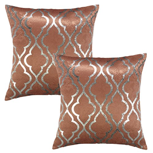 Metallic Spice (SUO AI TEXTILE Quatro Metallic Print Suede Thick Pillows Decorative Throw Pillowcase Square Cover for Home or Sofa (18 x 18 Inch, 2 Pack, Spice))