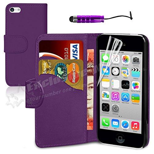 Mobileconnect4u®-Custodia a portafoglio in pelle PU per iPhone 5/5S, con pellicola proteggi schermo e pennino capacitivo