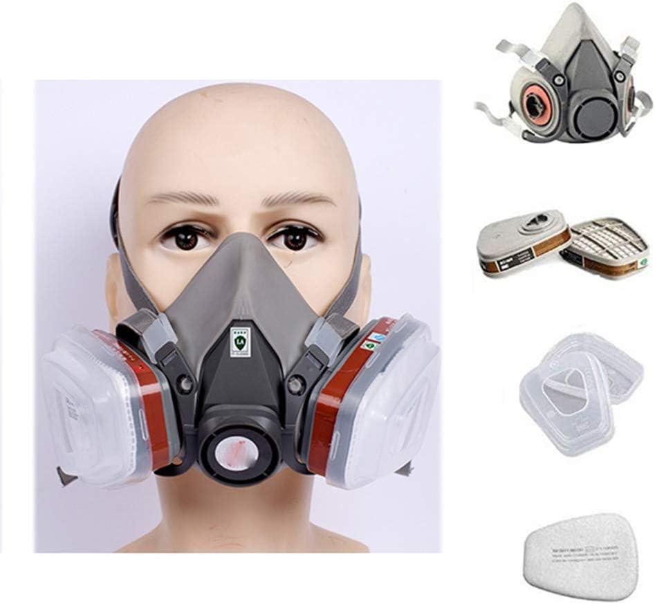 FDSAG Respirador Máscara De Gas Cartucho De Carbón Activado con 2 Válvulas De Respiración, Pesticida De Protección Respiratoria De Media Máscara, Producto Químico, Olor
