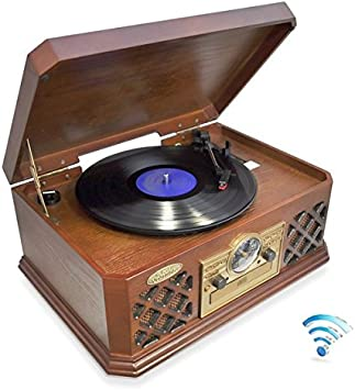 Bluetooth Compatible Classic Vintage Turntable - Retro Vinyl Wood Record Player Speaker System w/ CD Player and Cassette Deck, 3-Speed, AUX, RCA, AM ...