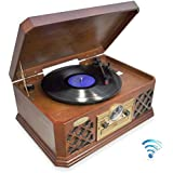 Pyle PTCD4BT Bluetooth Classic Style Record Player Turntable with CD Player, Cassette Deck, AUX (3.5mm) Input, Wireless Music Streaming