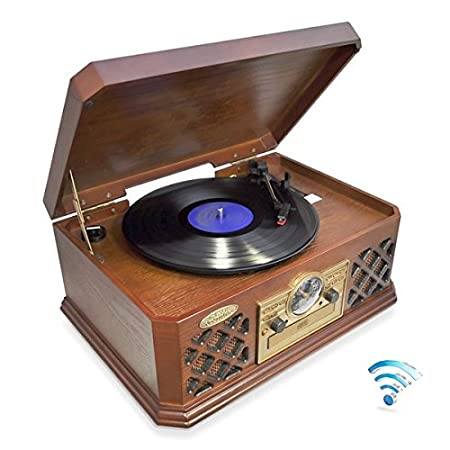Pyle Vintage Turntable - Retro Vinyl Stereo System With Bluetooth, CD Player, USB Reader, SD Card Slot and Speakers - Record AM/FM Radio and Other Audio Files to MP3 with Remote (PTCD64UBT)