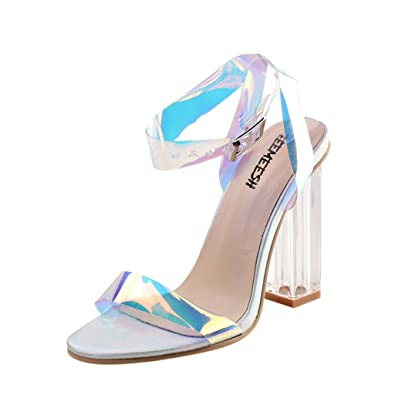 c172841e3cf Womens Ladies Holographic Clear Heel Ankle Strap High Heels Sandals Summer  Peep Toe Pumps White