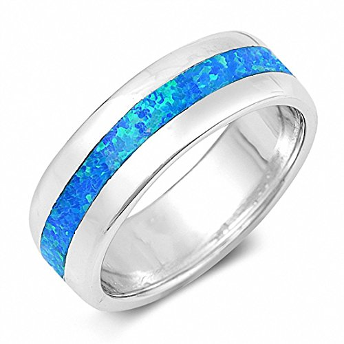 925 silver inlay Blue Topaz Rings Size: 7mm. - 1
