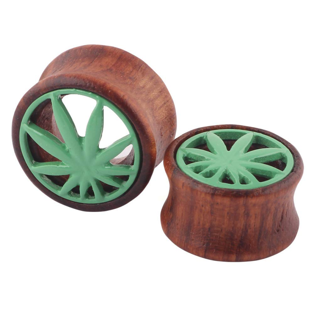 Ear Plugs Wood Hollow Maple Leaf Ear Gauges Body Piercing Jewelry 1 Pair (Brown Green, 20 mm)