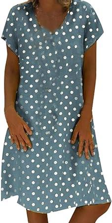 MOMOXI Vestido para Las Mujeres, Vestimenta Casual para Mujer Bolsillos con Volantes sólidos O Cuello Shift Vestidos abotonados de decoración Diaria