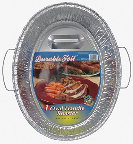Durable Foil Oval Handle Aluminum Roasting Pan, X-Large, 8-1/2'' x 14'' x 3-3/8'' (Pack of 12)