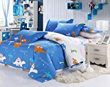 MeMoreCool Home Textile Cute Kids Students Bedding Set Cartoon Dinosaur Pattern Duvet Cover Boys and Girls 100% Cotton Bedding Fillet Bed Sheets Twin Size 3Pcs