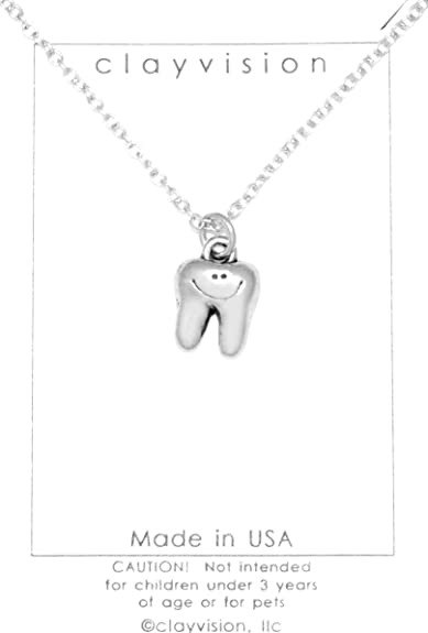 Amazon.com  Clayvision Happy Tooth Dentist Hygienist Necklace with ... 421a3787c3